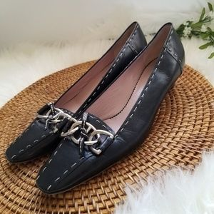 Vintage Prada Black Leather Kitten Heels 39